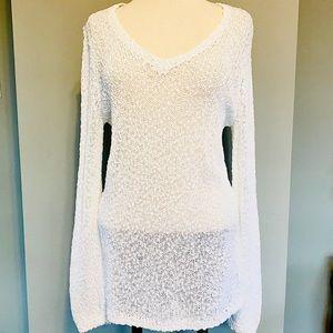 TALBOTS White Cotton Slub V-Neck Tunic Sweater